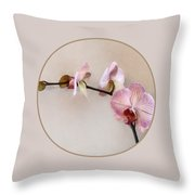 Delicate Pink Phalaenopsis Orchids Throw Pillow