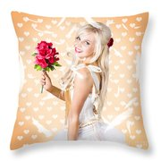 Delicate Young Woman Holding Flower Bunch Throw Pillow