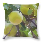 Delicious Yellow Apple In Summer Throw Pillow