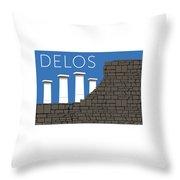 Delos - Blue Throw Pillow by Sam Brennan