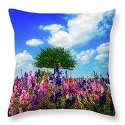 Delphinium Daydreams Throw Pillow