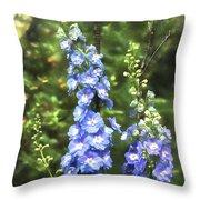 Delphinium Painterly Throw Pillow