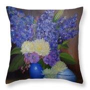Delphiniums In Blue Vase Throw Pillow