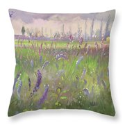 Delphiniums, Storm Passing Throw Pillow