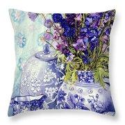 Delphiniums With Antique Blue Pots Throw Pillow
