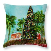 Delray Beach Christmas Tree Throw Pillow