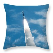 Delta Rocket From Cape Canaveral In Florida Throw Pillow