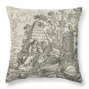 Democritus Mediterend, Jonas Umbach, 1634 - 1693 Throw Pillow