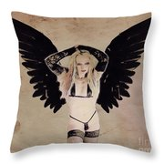 Demon Girl By Mb Throw Pillow
