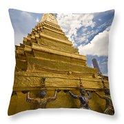 Demon Guards Grand Palace Bangkok Throw Pillow