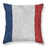 Denim France Flag Illustration Throw Pillow