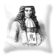 Denis Papin With Steam Engine Diagram Throw Pillow