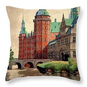 Denmark, Castle, Romance Of The Middle Ages Poster Throw Pillow