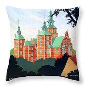 Denmark, Rosenborg Castle, Vintage Travel Poster Throw Pillow