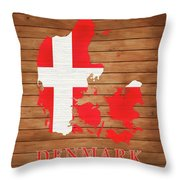 Denmark Rustic Map On Wood Throw Pillow