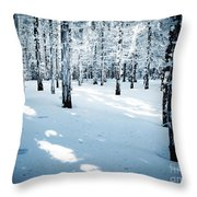 Dense Spruce Snowy Forest Throw Pillow