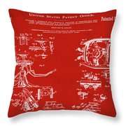 Dentists Chair Patent 1892 In Red Throw Pillow