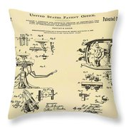Dentists Chair Patent 1892 In Sepia Throw Pillow