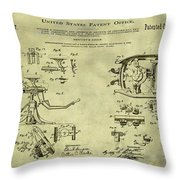 Dentists Chair Patent 1892 In Vintage  Throw Pillow