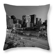 Denver At Night B W Throw Pillow