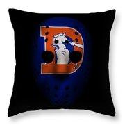 Denver Broncos War Mask 3 Throw Pillow