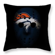 Denver Broncos War Mask Throw Pillow