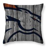 Denver Broncos Wood Fence Throw Pillow