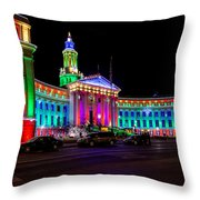 Denver City County Building Holiday Lighting. Throw Pillow