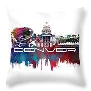 Denver Skyline City Blue Throw Pillow