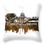 Denver Skyline City Brown Throw Pillow
