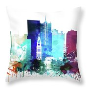 Denver Watercolor Skyline Throw Pillow