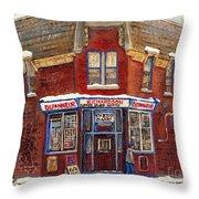 Depanneur De Montreal Pointe St Charles Best Original Montreal Paintings On Sale Peintures A Vendre  Throw Pillow