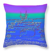 Departing Ferry Throw Pillow by Tim Allen