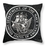 Department Of The Navy Emblem Polished Granite Throw Pillow