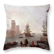 Departure Of Ulysses From The Land Of The Feaci  Throw Pillow