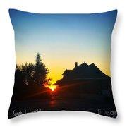 Depot At Sunset Throw Pillow