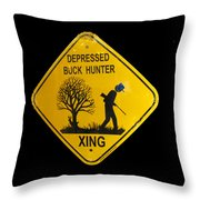 Depressed Buck Hunter Throw Pillow