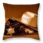 Deputy Sheriff Gear - Sepia Throw Pillow
