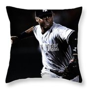 Derek Jeter Throw Pillow by Paul Ward