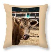 Derp Cow Throw Pillow