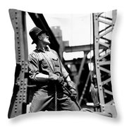 Derrick Man   Empire State Building Throw Pillow by LW Hine