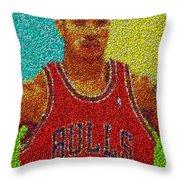Derrick Rose Skittles Mosaic Throw Pillow by Paul Van Scott
