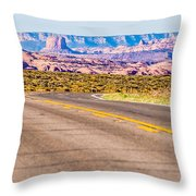 descending into Monument Valley at Utah  Arizona border  Throw Pillow