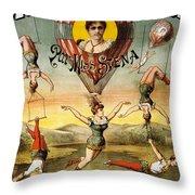 Descente D'absalon Par Miss Stena - Aerialists, Circus - Retro Travel Poster - Vintage Poster Throw Pillow