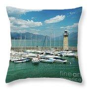 Desenzano Del Garda Lighthouse Italy Throw Pillow