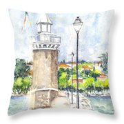 Desenzenzo Lighthouse And Marina In Italy Throw Pillow
