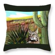 Desert Bobcat Throw Pillow