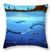 Desert Dolphins Close  Throw Pillow by Lance Headlee