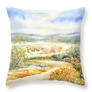 Desert Landscape Watercolor Throw Pillow