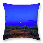 Desert Moon Scape Throw Pillow